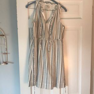 blue and white stripe dress with tie waist